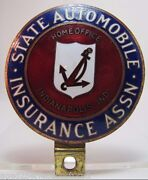 Old State Automobile Insurance Assn License Plate Topper Sign Indianapolis Ind