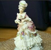 Antique Italy San Marco Lady Pottery Doll Figurine Lace Doll Rare From Japan F/s