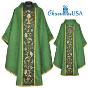 Priest Pastor Eucharistic Chasuble Green Gothic Vestment And Stole