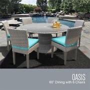 Monterey 60 Inch Outdoor Patio Dining Table With 6 Armless Chairs In Aruba