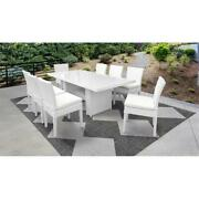 Monaco Rectangular Outdoor Patio Dining Table With 8 Armless Chairs