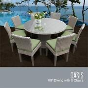 Monterey 60 Inch Outdoor Patio Dining Table With 8 Armless Chairs In Cilantro