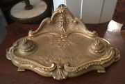 Beautiful Antique Victorian French Gilt Bronze Double Inkwell Artist Signed