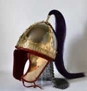 14ga Steel And Brass Coated Medieval Viking Helmet With Horse Hair Museum Replica