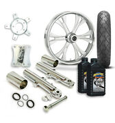 Rc 21 Valor Wheel Tire And Complete Chrome Front End Package Harley 14-19 Flh