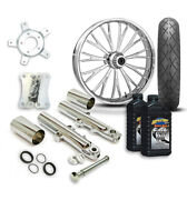 Rc 21 Dynasty Wheel Tire And Complete Chrome Front End Package Harley 14-19 Flh