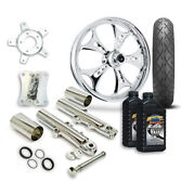 Rc 21 Holeshot Wheel Tire And Complete Chrome Front End Package Harley 14-19 Flh