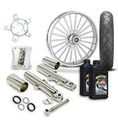 Rc 21 Illusion Wheel Tire And Complete Chrome Front End Package Harley 14-19 Flh