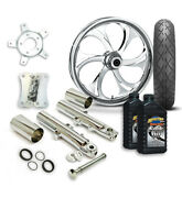 Rc 21 Recoil Wheel Tire And Complete Chrome Front End Package Harley 14-19 Flh