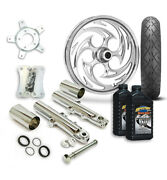 Rc 21 Savage Wheel Tire And Complete Chrome Front End Package Harley 14-19 Flh