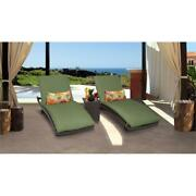 Belle Curved Chaise Set Of 2 Outdoor Patio Furniture With Side Table In Cilantro
