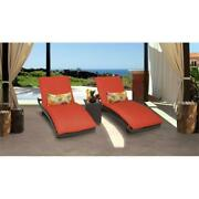 Belle Curved Chaise Set Of 2 Patio Furniture With Side Table In Tangerine