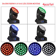 Us 4pc Rdm 36x18w Rgbwa Uv 6in1 Zoom Led Moving Head Spot Wash Light For Party