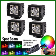 4x Led Work Light 3 Cube Pods With Rgb Halo Stobe Music Control Bluetooth
