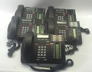 Lot Of 5 Bellsouth / Nortel Telephone T7316e Nt8b27jaah Charcoal Stand And Headset
