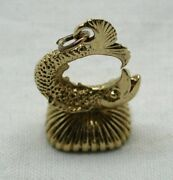 Lovely 9 Carat Gold And Bloodstone Agate Fish Shaped Seal Fob Pendant