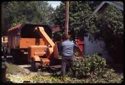 Vtg 1969 35mm Slide Man Loads Branches Into Tree Wood Chipper In Michigan E27