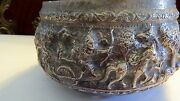 Rare Vintage 19th Century Ramekin Characters Thailand Hand Carved Silver Bowl.