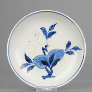 Antique Chinese 16/17th C Porcelain Ming China Small Plate Flower Peach[...