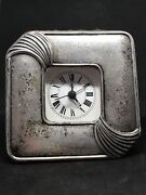 Vintage Sterling Silver 925 Italian Art Deco Style Hammered Clock 4and039and039 X 4and039and039