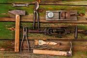 Old Rusty Tools On Wooden Table Hardware Antique Mural Inch Poster 36x54 Inch