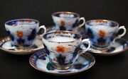 Gaudy Welsh Flow Blue Copper Luster 4 Cups 4 Saucers