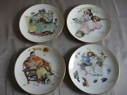 Rare Vintage 1973 Set Of 4 Norman Rockwell Plates The Four Seasons Of Love