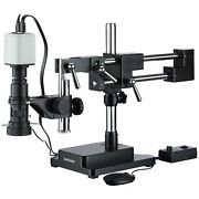 Amscope Industrial Inspection Zoom Monocular Microscope + Double Arm Stand + 108