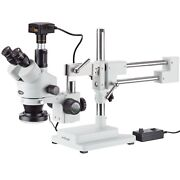 3.5x-90x Simul-focal Stereo Zoom Microscope + Boom Stand + Ring Light + 16mp Usb
