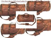 5 Pcs Menand039s Brown Genuine Goat Leather Overnight Messenger Briefcase Carry Bag