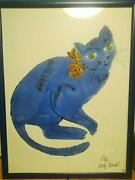 Andy Warhol Art Poster Blue Cat Official Print Very Rare F/s Japan Germany
