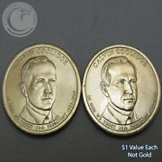 2014 Pandd Calvin Coolidge 1 Presidential Dollar Out Of Mint Rolls- 2 Coins