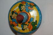 Child's Small Antique Tin Push And Spin Toy Litho Bears