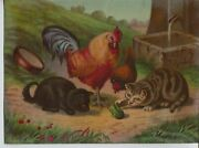 1880s Era Vintage Print Farm Rooster Cats Toad Water Well Farm Lithograph