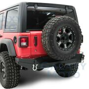 Hd Rock Crawler Rear Bumper+2 Hitch+double Plate For 18-19 Jeep Wrangler Jl