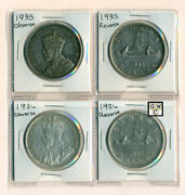 Only Circulating Silver Dollars W/ King George V 1935 And 1936 Front And Backooak