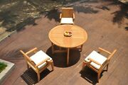 4pc Grade-a Teak Dining Set 48 Round Butterfly Table 3 Lagos Arm Chair Outdoor