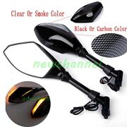 8/10mm Motorcycle Sport Bike Led Integrated Arrow Turn Signal Rearview Mirrors N