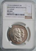 Brunswick 3 Mark 1915 Ngc Ms64+ Ernst August Wedding And Accession