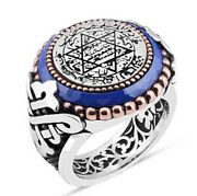 Turkish 925 Sterling Silver Solomons Seal Blue Sapphire Stone Men Ring All Sİze