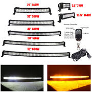 7/14/22/32/42/50/52 Inch Amber White Offroad Led Light Bar Strobe Remote Control
