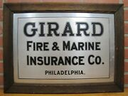 Antique Girard Fire And Marine Insurance Co Philadelphia Sign Metal Wood Frame Toc