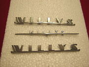 Willys 3 Piece Emblem Set For Gassers, Street Rods, Jeeps. 1941