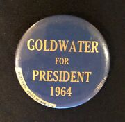 Goldwater For President 1964 Rare Version Button With Maker Name And Union Bug O
