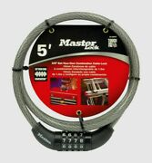 Master Lock Cable Lock 3/8 X 5 Ft Steel 4-dial Combination Bike Bicycle 8119dpf