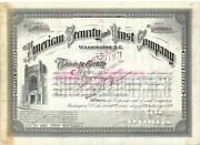 American Security And Trust Company.....1893 Common Stock Certificate