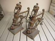 Antique Vintage Asian Chinese Dragon Lion Foot Book Ends Large Original Brass