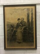 Antique Brownscombe Lithograph In Original Frame 2 Signatures In Bottom