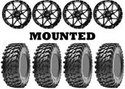 Kit 4 Maxxis Rampage Tires 32x10-14 On Itp Tornado Matte Black Wheels Can