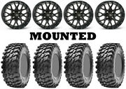 Kit 4 Maxxis Rampage Tires 32x10-14 On Itp Hurricane Matte Black Wheels Irs
